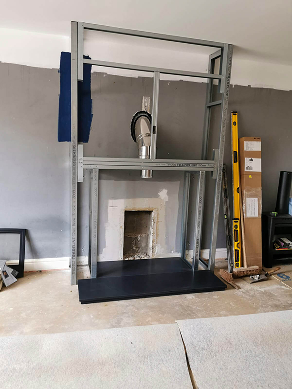 False Chimney Breast Installation Metal Studwork